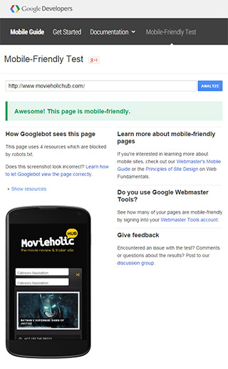 Google Mobile Friendly Test - Design Sync