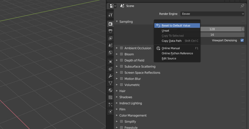 How to reset input parameters to default in Blender 2 8? | DESIGN SYNC